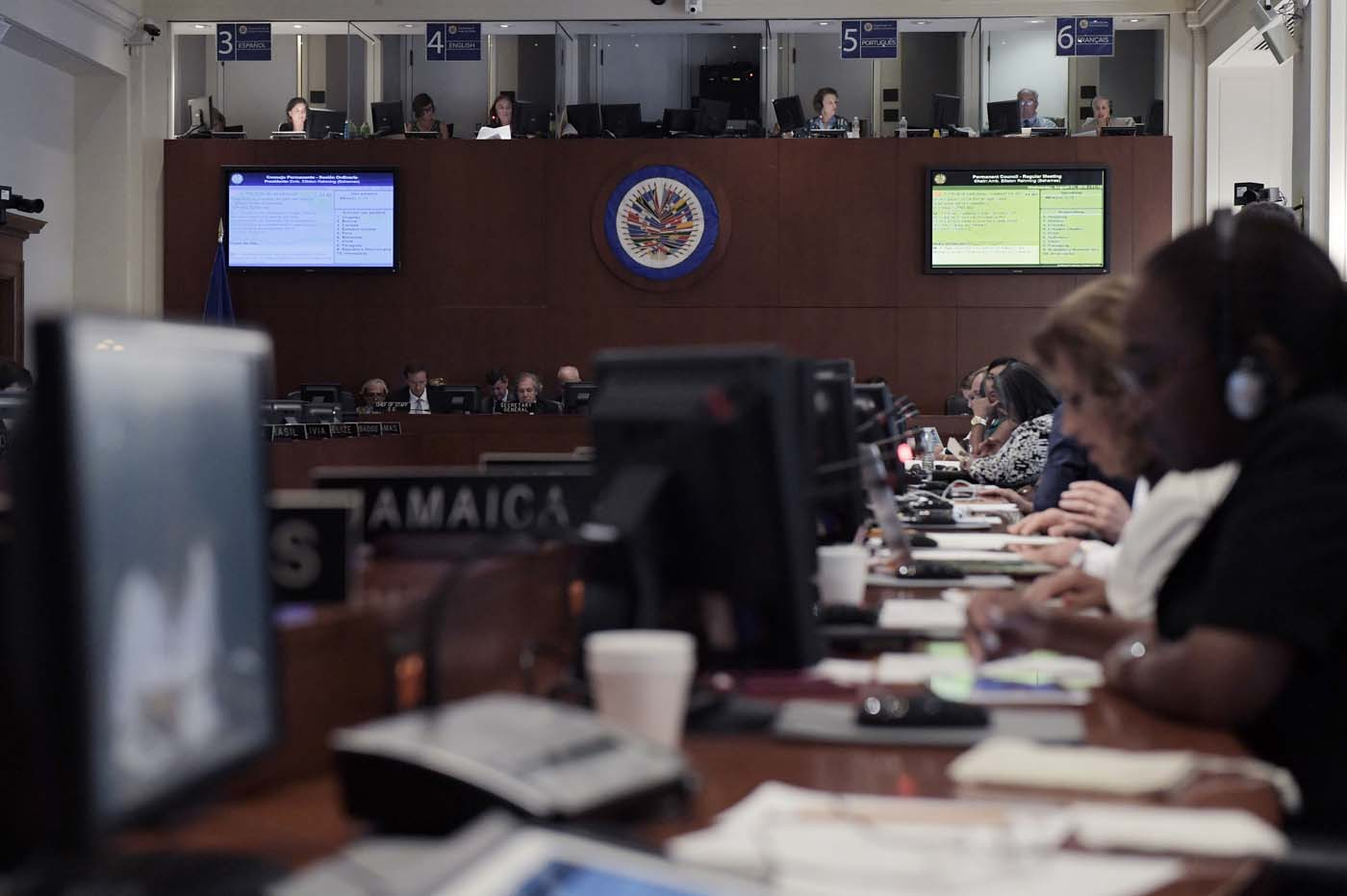 Vista de la reunión ordinaria de la Organización de Estados Americanos (OEA) en la sede de la organización en Washington (Foto EFE/LENIN NOLLY)