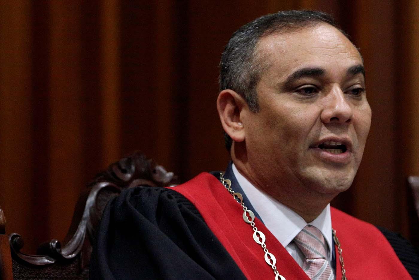 El presidente del TSJ, Maikel Moreno en rueda de prensa (Foto REUTERS/Marco Bello)