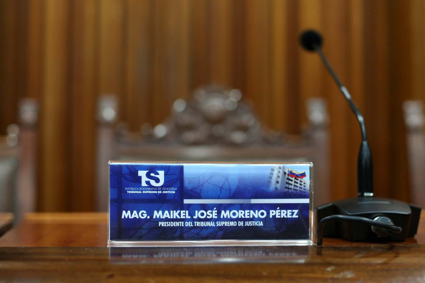 A sign with the name of Venezuela's Supreme Court President Maikel Moreno, is seen before a news conference at the Supreme Court of Justice (TSJ) in Caracas, Venezuela April 1, 2017 REUTERS/Carlos Garcia Rawlins