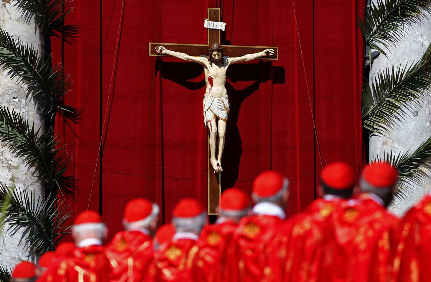 Cardinals attend the Palm Sunday Mass led by Pope Francis  in Saint Peter's Square at the Vatican April 9, 2017. REUTERS/Tony Gentile