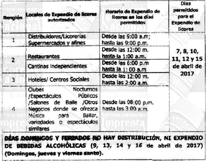 Foto: Horarios de la Ley Seca en Semana Santa / Gaceta oficial N° 41.130