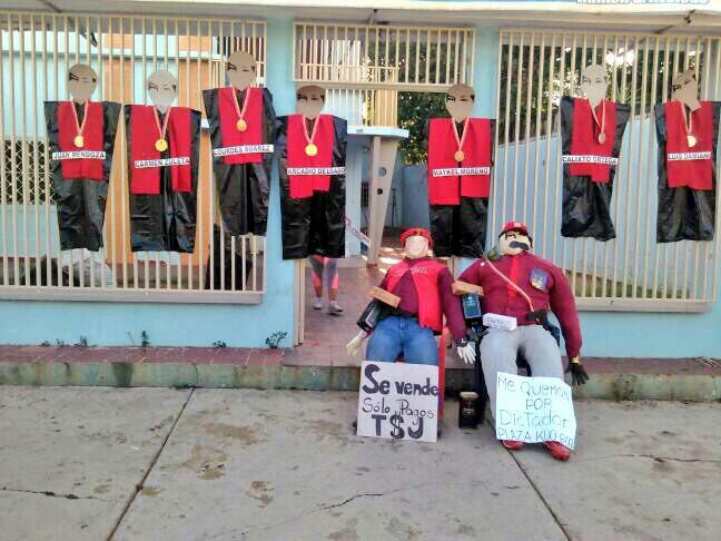 En Zulia quemaron a los magistrados del TSJ y a Maduro. Foto: Cortesía