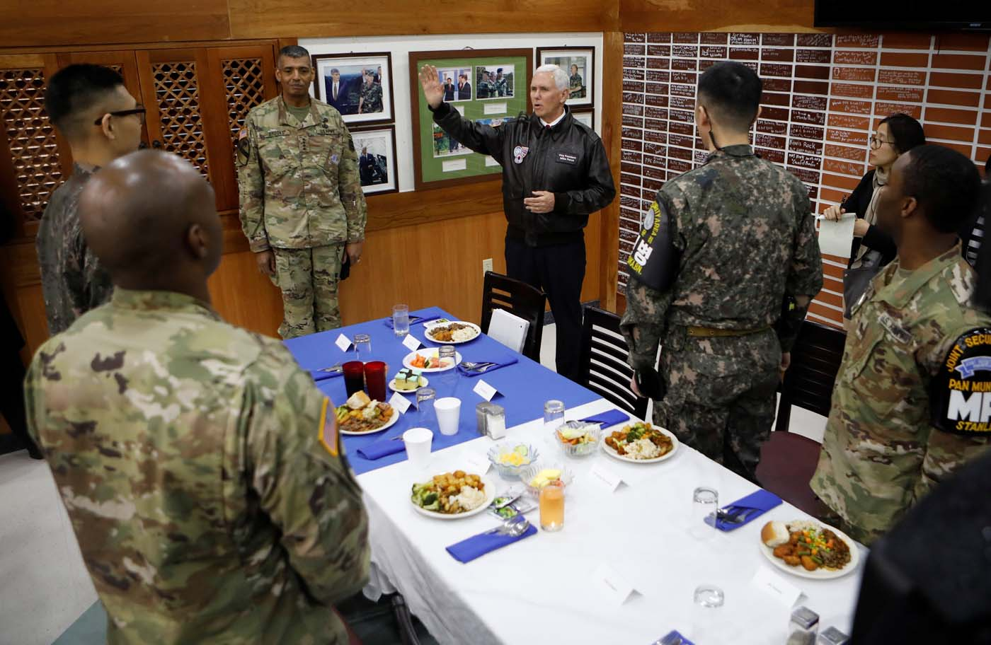 U.S. Vice President Mike Pence speaks during a meeting with U.S. and South Korean soldiers at Camp Bonifas near the truce village of Panmunjom in Paju South Korea