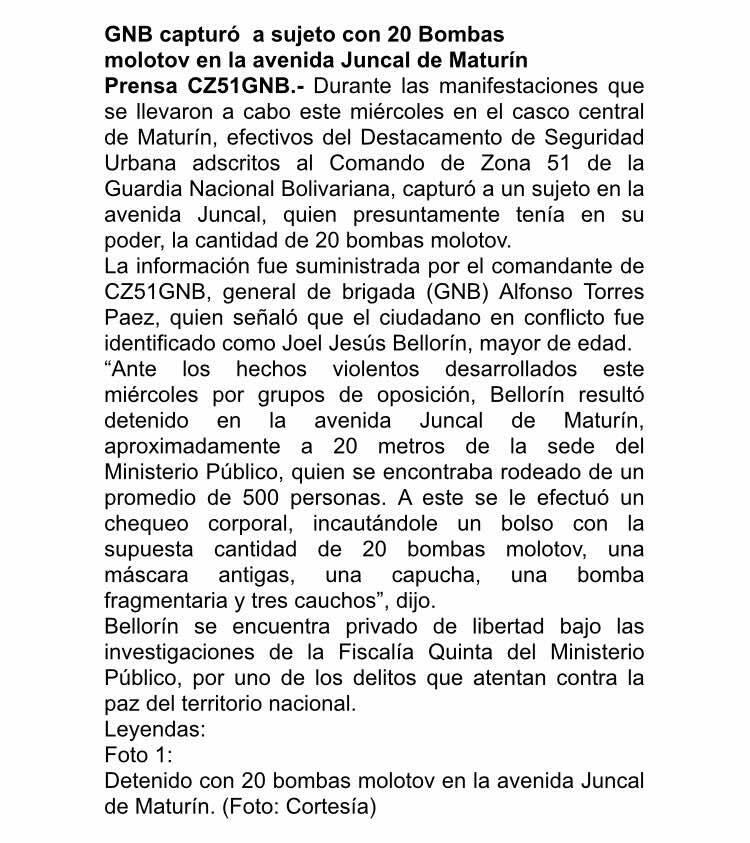 Nota de prensa de la GNB