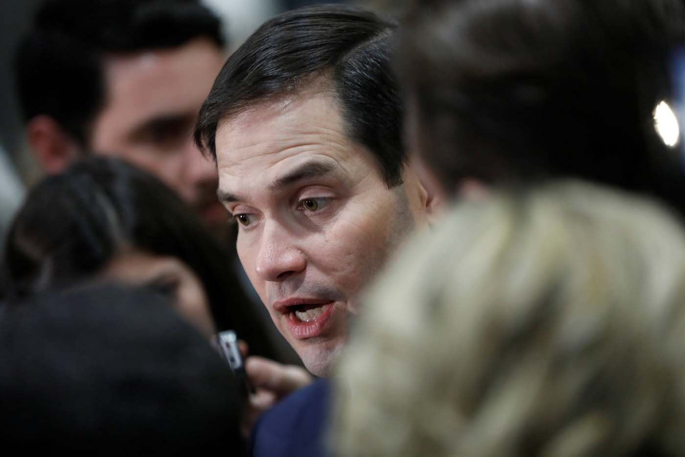 Senator Marco Rubio (R-FL) speaks with reporters after a classified briefing on the airstrikes launched against the Syrian military, at the U.S. Capitol in Washington, U.S., April 7, 2017. REUTERS/Aaron P. Bernstein