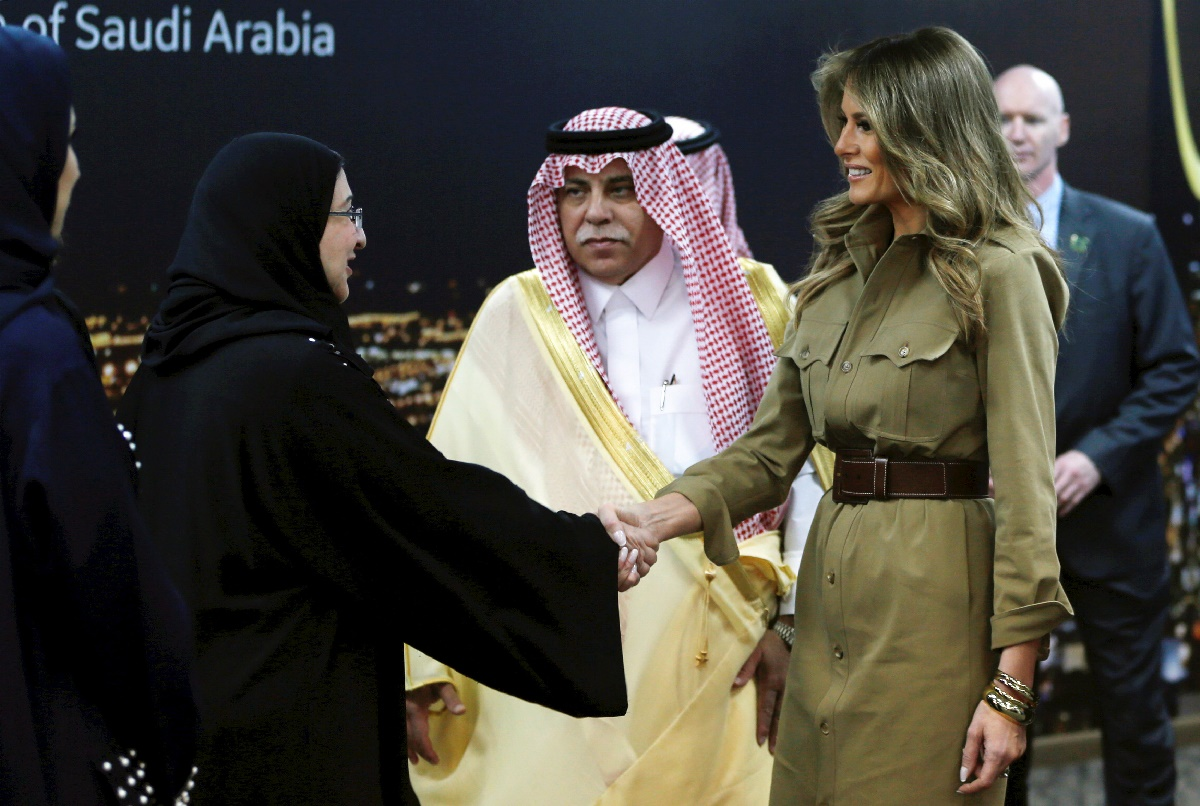 First lady Melania Trump is greeted as she visits GE All women business process service center in Riyadh, Saudi Arabia, May 21, 2017. REUTERS/Hamad I Mohammed