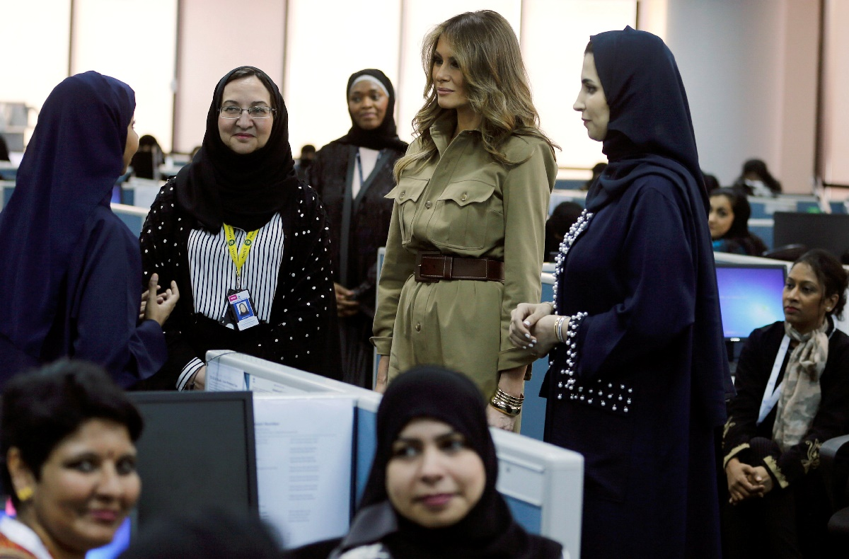 First lady Melania Trump visits GE All women business process service center in Riyadh, Saudi Arabia, May 21, 2017. REUTERS/Hamad I Mohammed