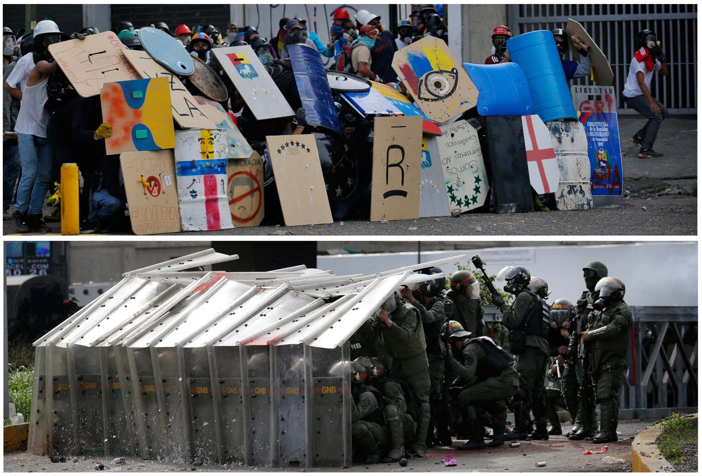 A combination picture shows demonstrators using shields to confront the Venezuelan National Guard (top) and members of Venezuelan National Guard using shields to confront protesters rallying against Venezuela's President Nicolas Maduro in Caracas, Venezuela May 24, 2017.   REUTERS/Carlos Barria
