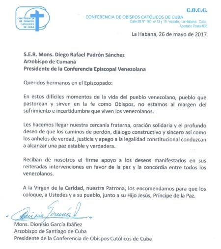 Carta de Obispos de Cuba a la Conferencia Episcopal Venezolana-min