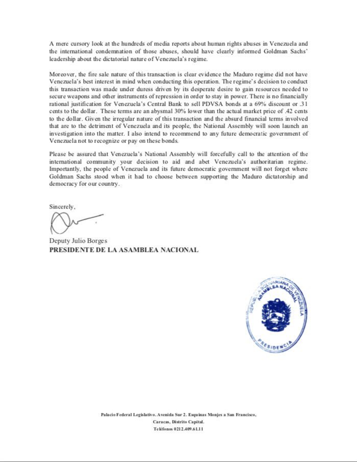 Carta de Borges al banco estadounidense Goldman Sachs
