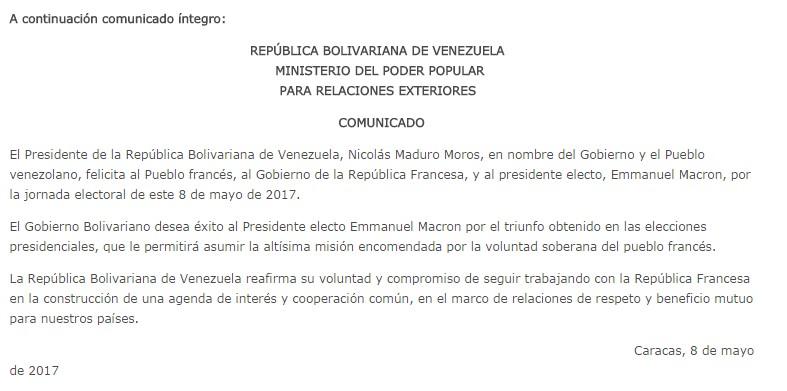 Comunicado de la Cancillería venezolana