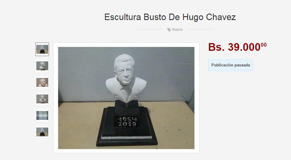 Ofertaron un busto de Chávez en reconocida página web