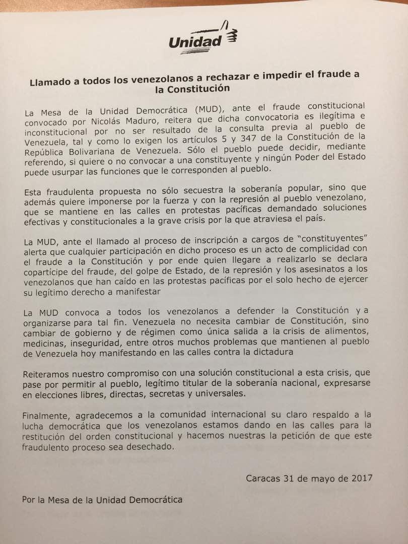 El documento de la Mesa de la Unidad Democrática en rechazo a la Constituyente