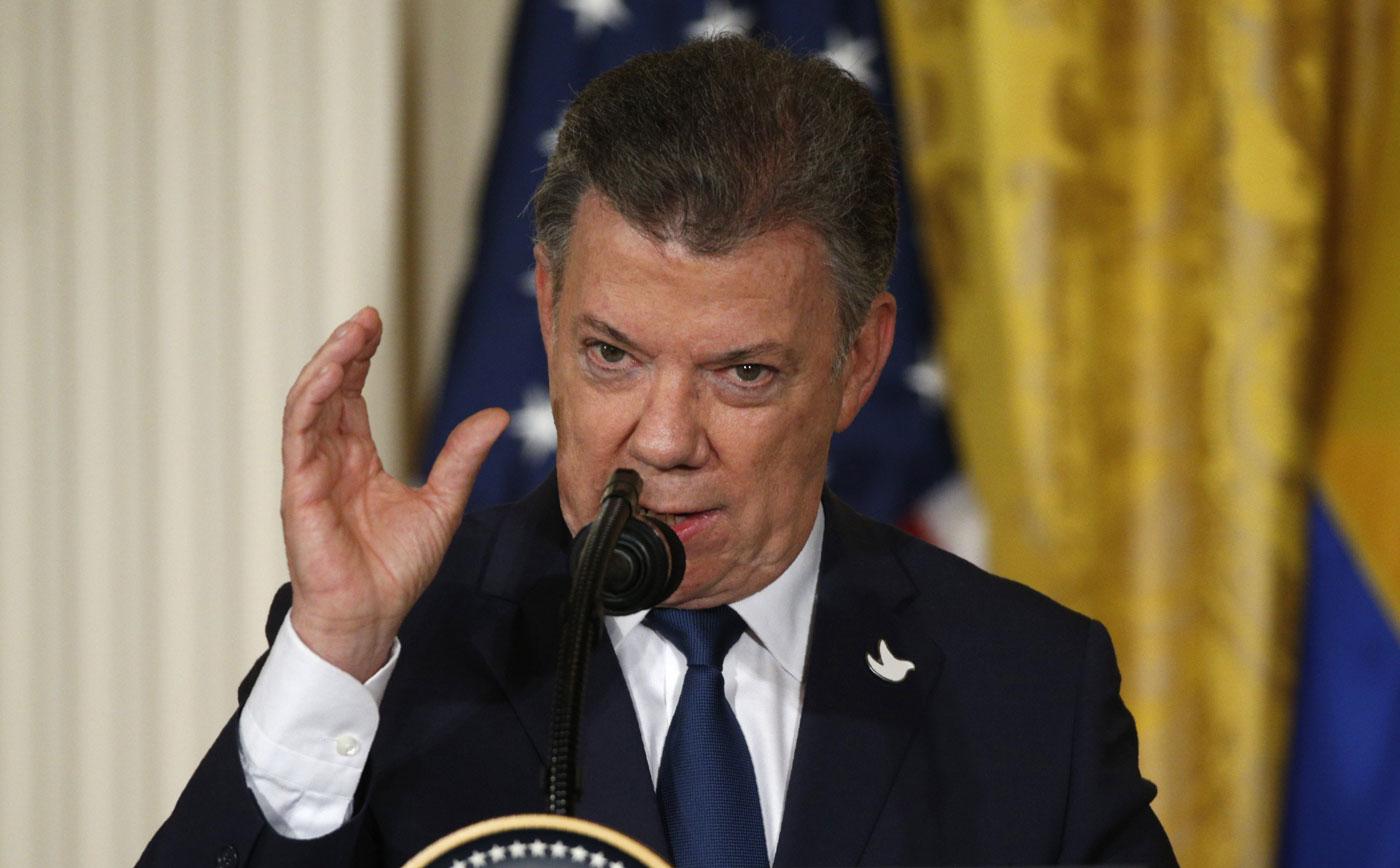 El presidente de Colombia, Juan Manuel Santos durante su visita a la Casa Blanca (Foto Reuters)