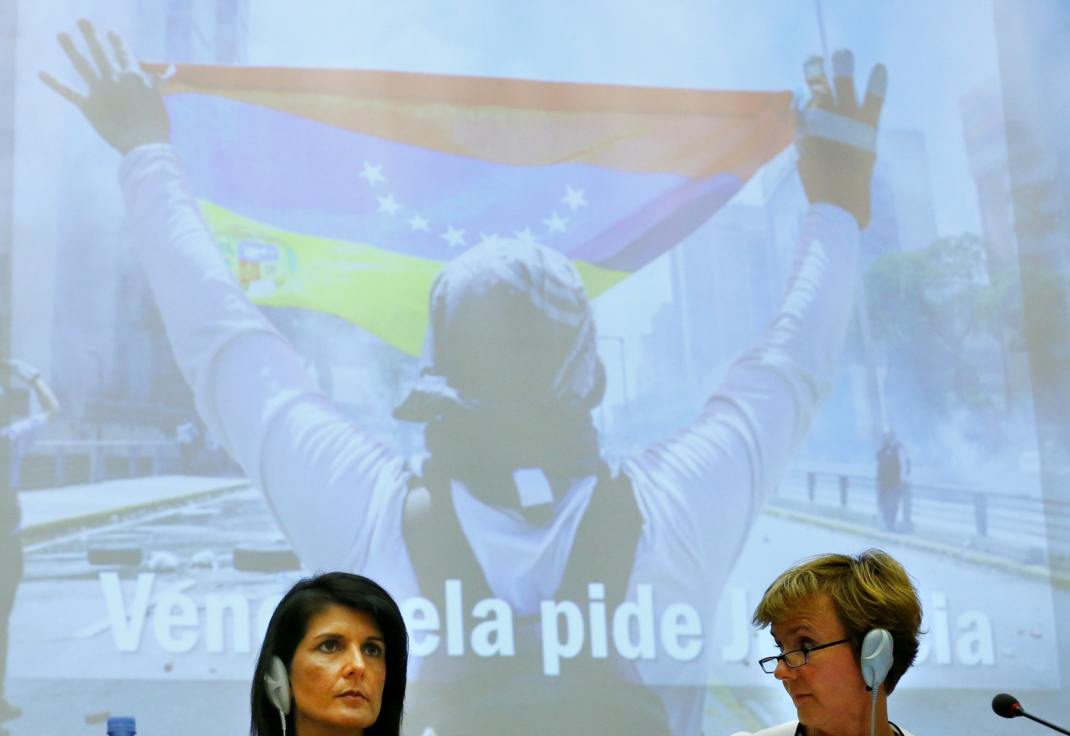 U.S. Ambassador to the United Nations Nikki Haley (L) attends a side-event of the Human Rights Council on the situation in Venezuela at the United Nations, in Geneva, Switzerland June 6, 2017. REUTERS/Denis Balibouse