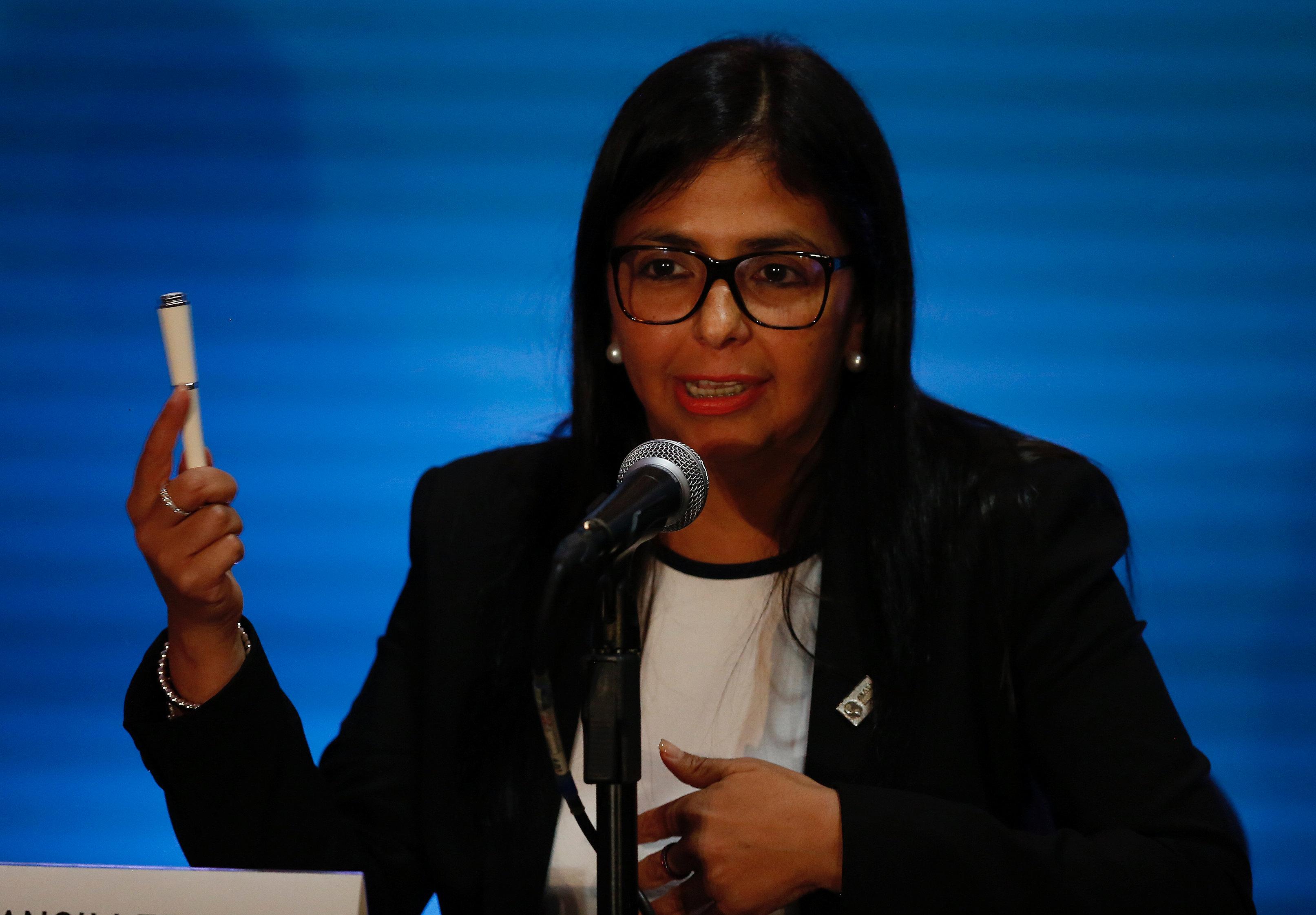 La canciller de la República, Delcy Rodríguez durante la sesión de la OEA de este lunes 19 de junio de 2017. REUTERS/Carlos Jasso