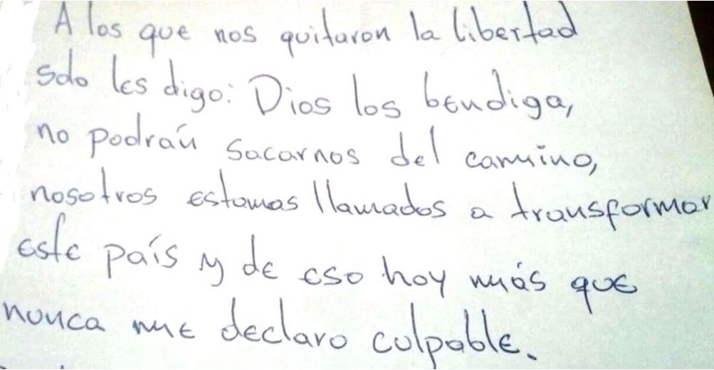 Mensaje que escribió Samuel Petit, uno de los ucabistas detenidos, reivindicando su lucha pese a la decisión del juez