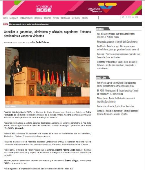 Página completa del portal web de VTV