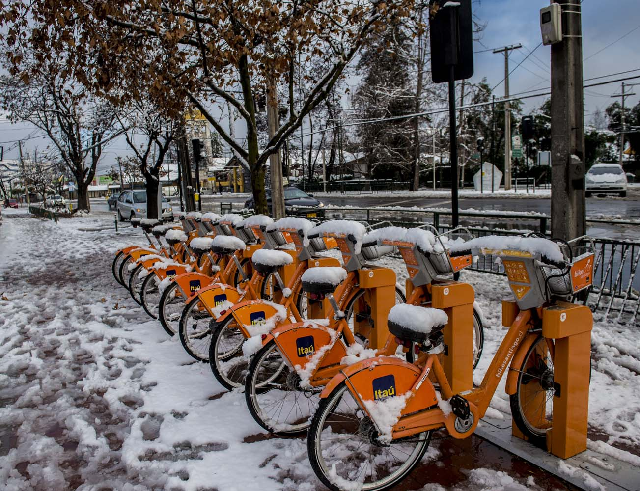 View of bicycles covered with snow in Santiago on July 15, 2017.  An unusual snowfall --the first of such intensity since 2007-- surprised the inhabitants of the Chilean capital, causing a few power cuts and minor traffic jams, in particular in the eastern areas of the capital, the closest to the Andes mountain range. / AFP PHOTO / MARTIN BERNETTI