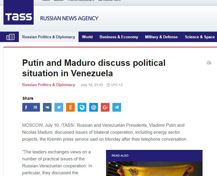 PutinMaduroConversacion10JUL2017TASS