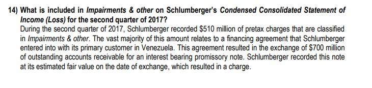 Detalle de la nota #14 en los estados financieros de Schlumberger para el 2do trimestre de 2017