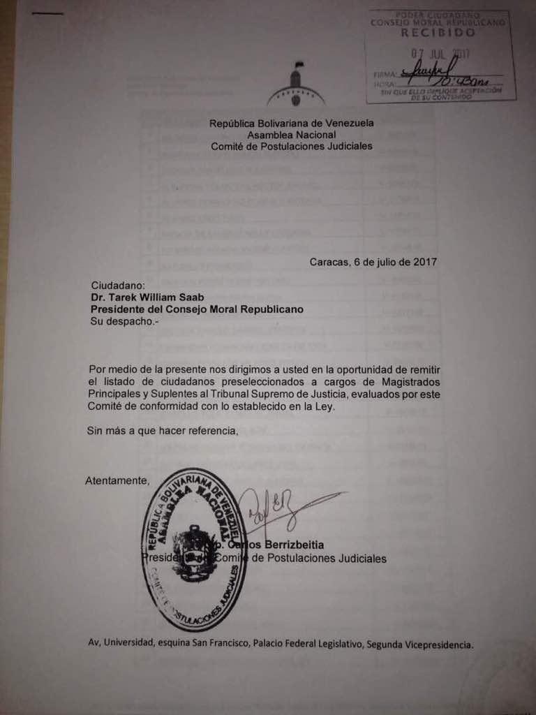 Con sello de la Defensoría llegan las litas de candidatos al TSJ seleccionados por la AN