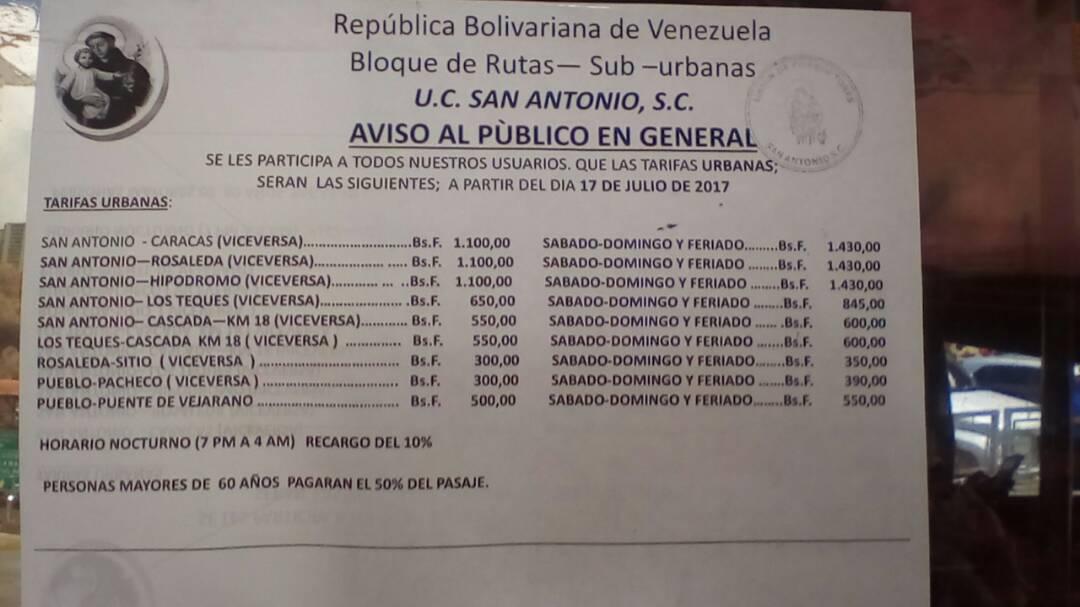 Foto: Transportista de San Antonio de los Altos aumentaron el pasaje hasta 1.100 Bolívares / Cortesía