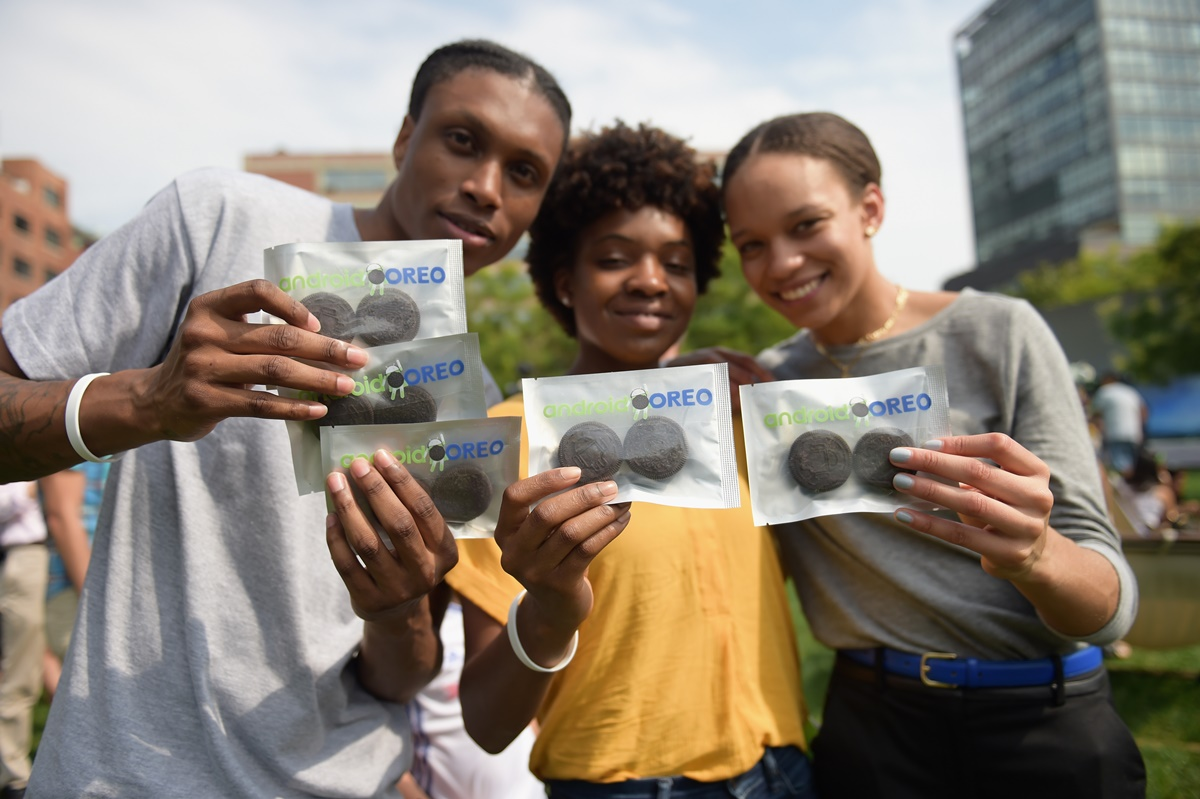NEW YORK, NY - AUGUST 21: Guests enjoy Oreo cookies as Google and Oreo reveal Android OREO during the solar eclipse at the 14th street park on August 21, 2017 in New York City.   Jason Kempin/Getty Images for Oreo/AFP