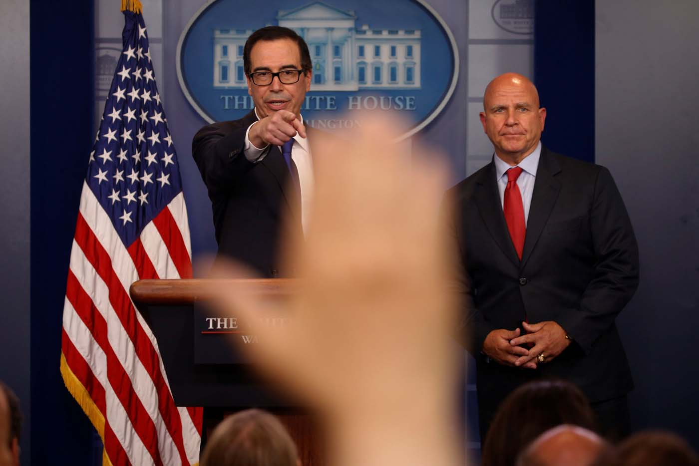 U.S. Treasury Secretary Steven Mnuchin (L) and National Security Advisor H.R. McMaster address sanctions on Venezuelan President Nicolas Maduro during the daily press briefing at the White House in Washington, U.S., July 31, 2017. REUTERS/Jonathan Ernst