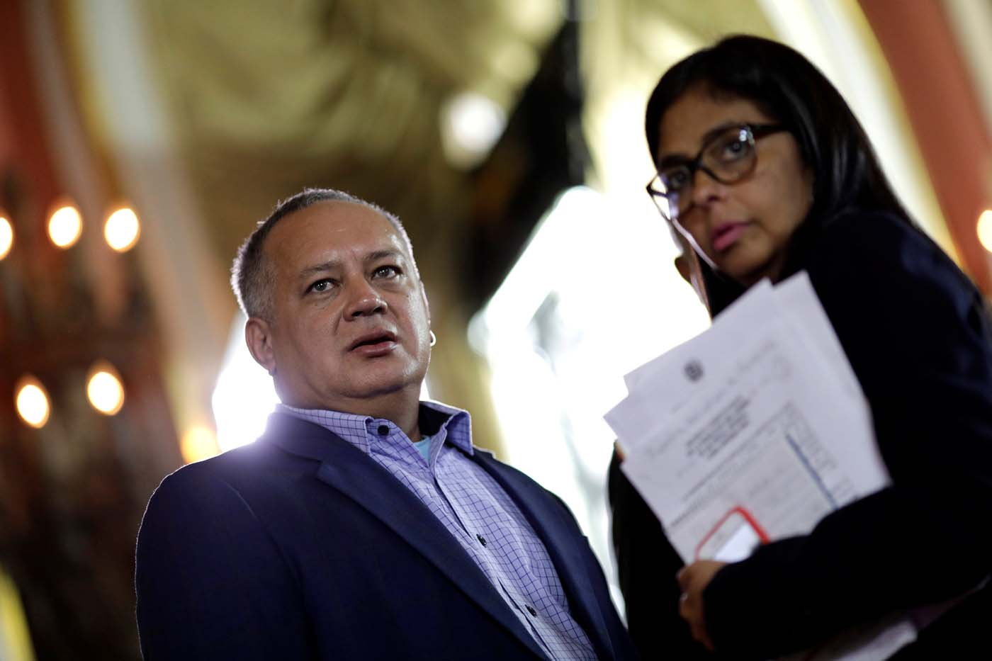 National Constituent Assembly member Diosdado Cabello and its president Delcy Rodriguez attend Tarek William Saab's (not pictured) appointment ceremony as new chief prosecutor in Caracas, Venezuela, August 5, 2017. REUTERS/Ueslei Marcelino