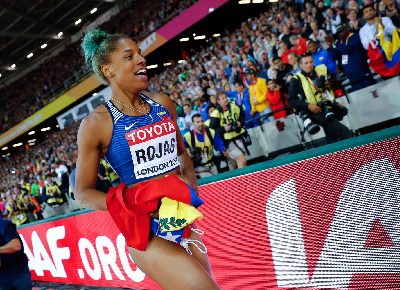Athletics - World Athletics Championships – women's triple jump final – London Stadium, London, Britain – August 7, 2017 – Yulimar Rojas of Venezuela celebrates after winning the final. REUTERS/Kai Pfaffenbach