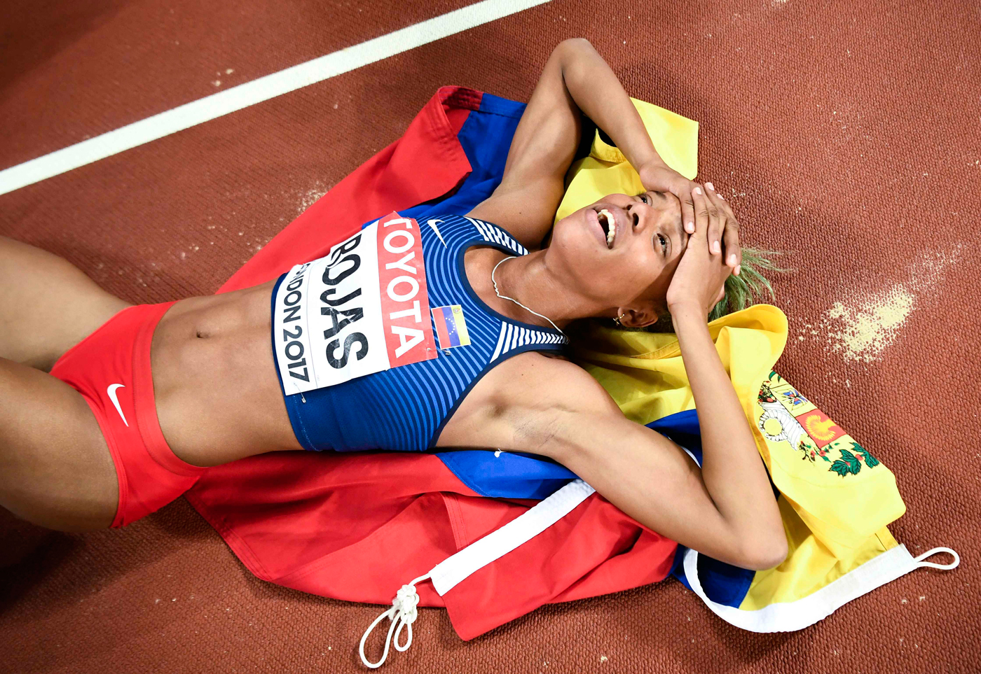 Athletics - World Athletics Championships – women's triple jump final – London Stadium, London, Britain – August 7, 2017 – Yulimar Rojas of Venezuela reacts after winning the final. REUTERS/Dylan Martinez