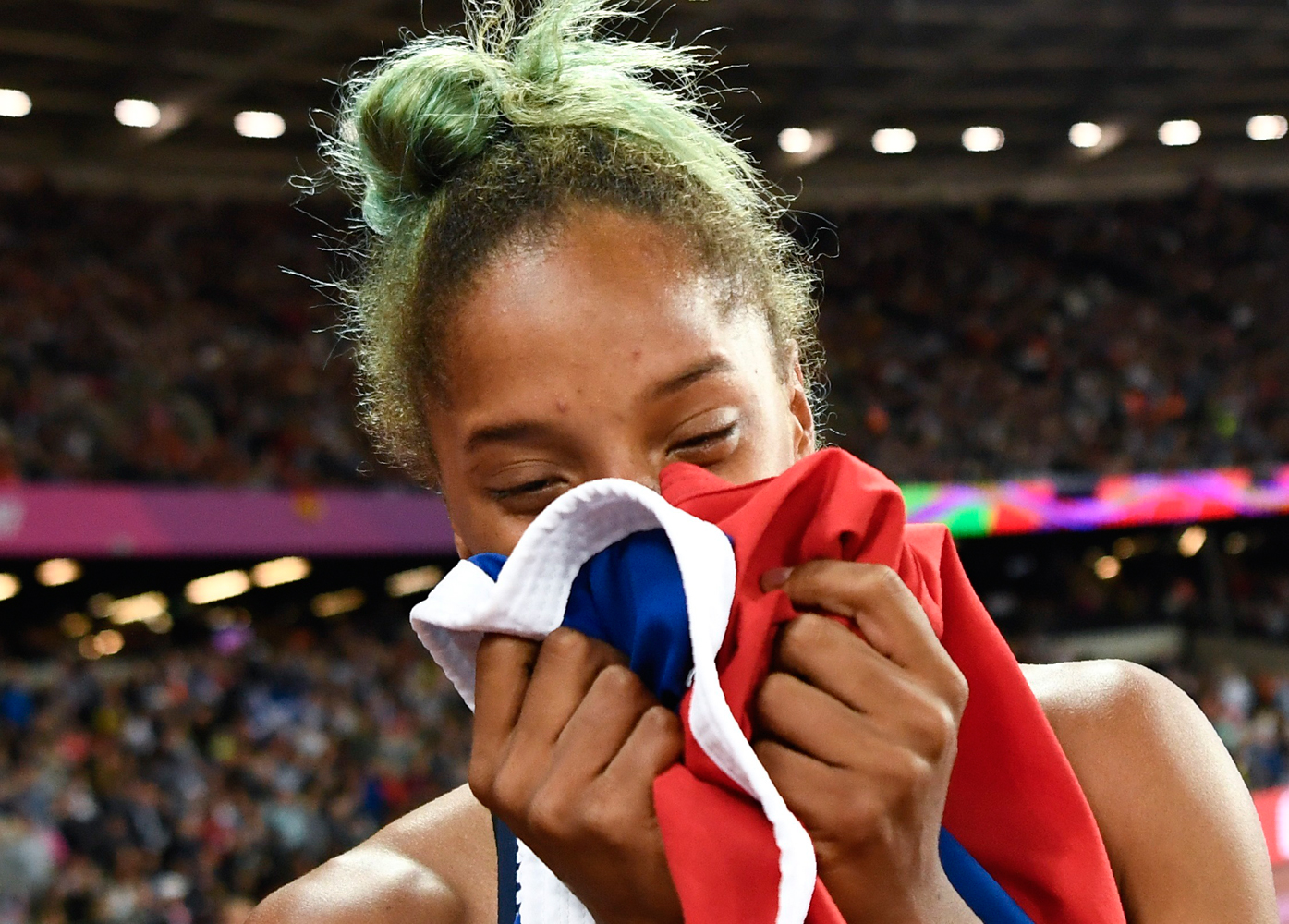 Athletics - World Athletics Championships – women's triple jump final – London Stadium, London, Britain – August 7, 2017 – Yulimar Rojas of Venezuela reacts after winning the final. REUTERS/Dylan Martinez