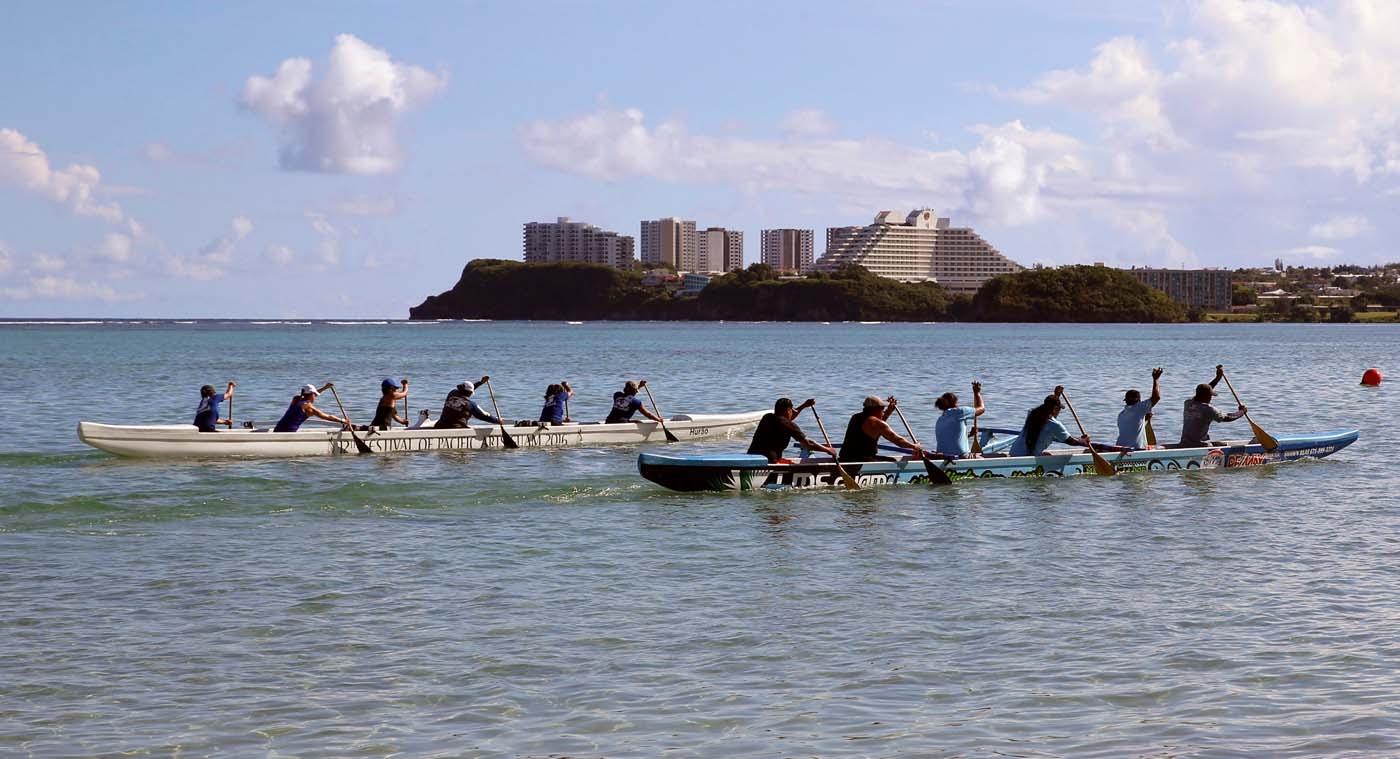 Guam's national rowing team practice on the waters off Tamuning City on the island of Guam, a U.S. Pacific Territory, August 12, 2017. REUTERS/Erik De Castro