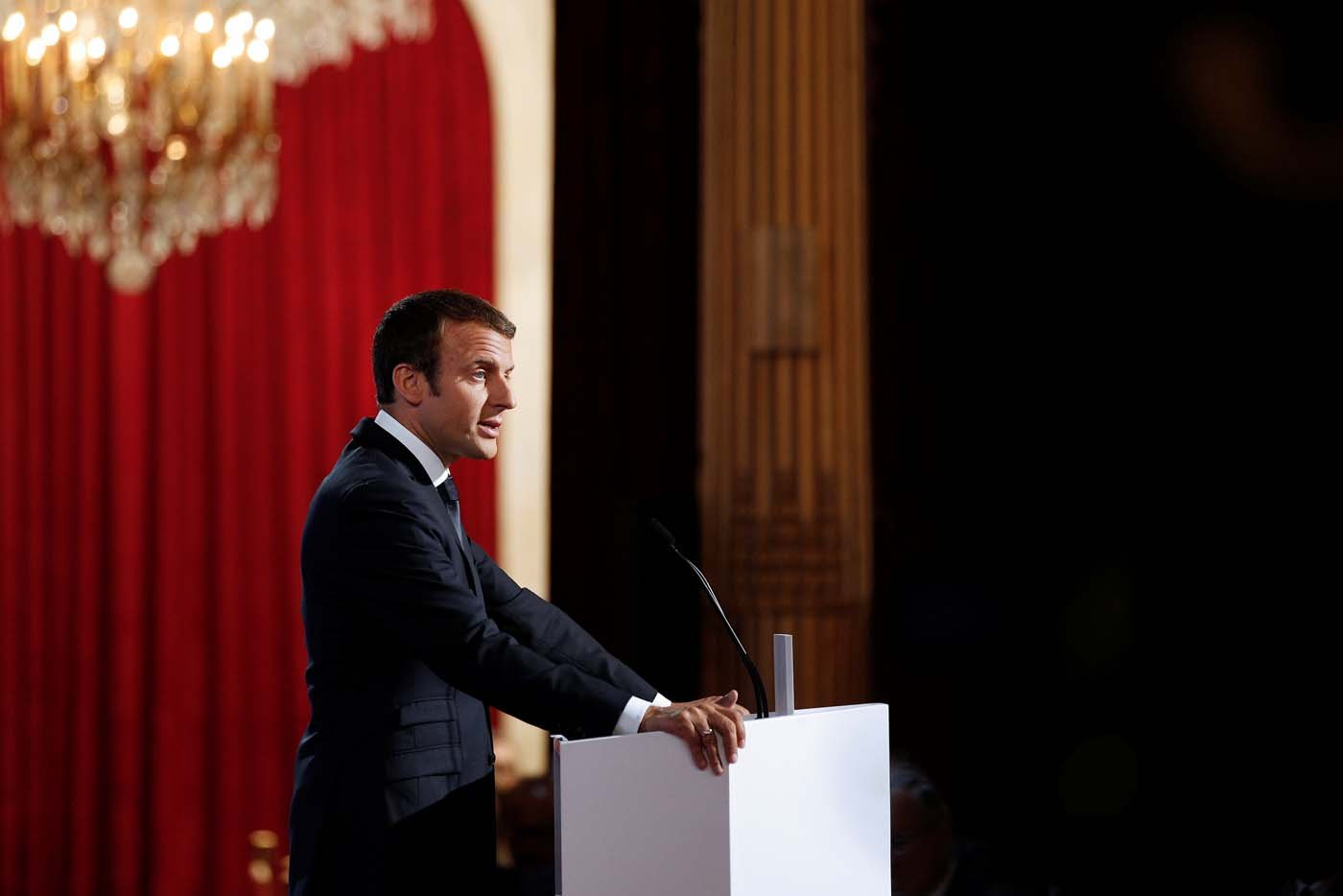 French President Emmanuel Macron addresses a speech during the annual gathering of French Ambassadors at the Elysee Palace in Paris, France, August 29, 2017. REUTERS/Yoan Valat/Pool
