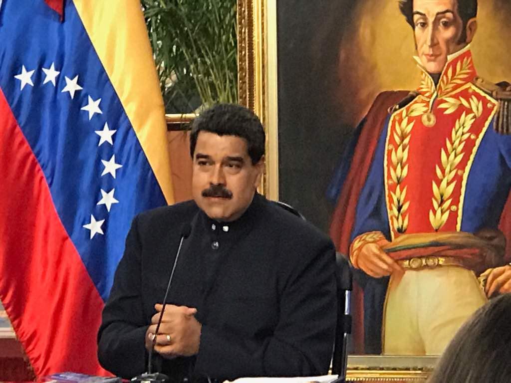 Maduro durante la rueda de prensa con medios internacionales