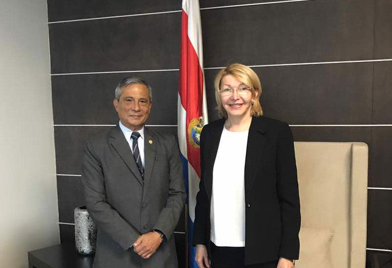 Ortega Díaz reunida con el fiscal de Costa Rica (Foto v{ia Twitter)