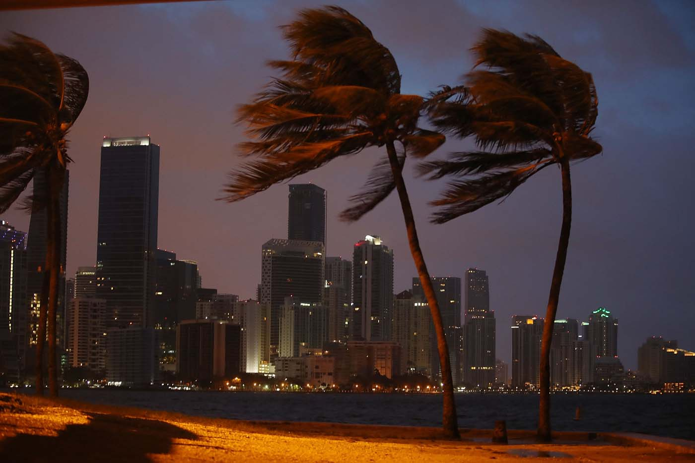 MIAMI, FL - SEPTEMBER 09: The skyline is seen as the outerbands of Hurricane Irma start to reach Florida on September 9, 2017 in Miami, Florida. Florida is in the path of the Hurricane which may come ashore at category 4. Joe Raedle/Getty Images/AFP