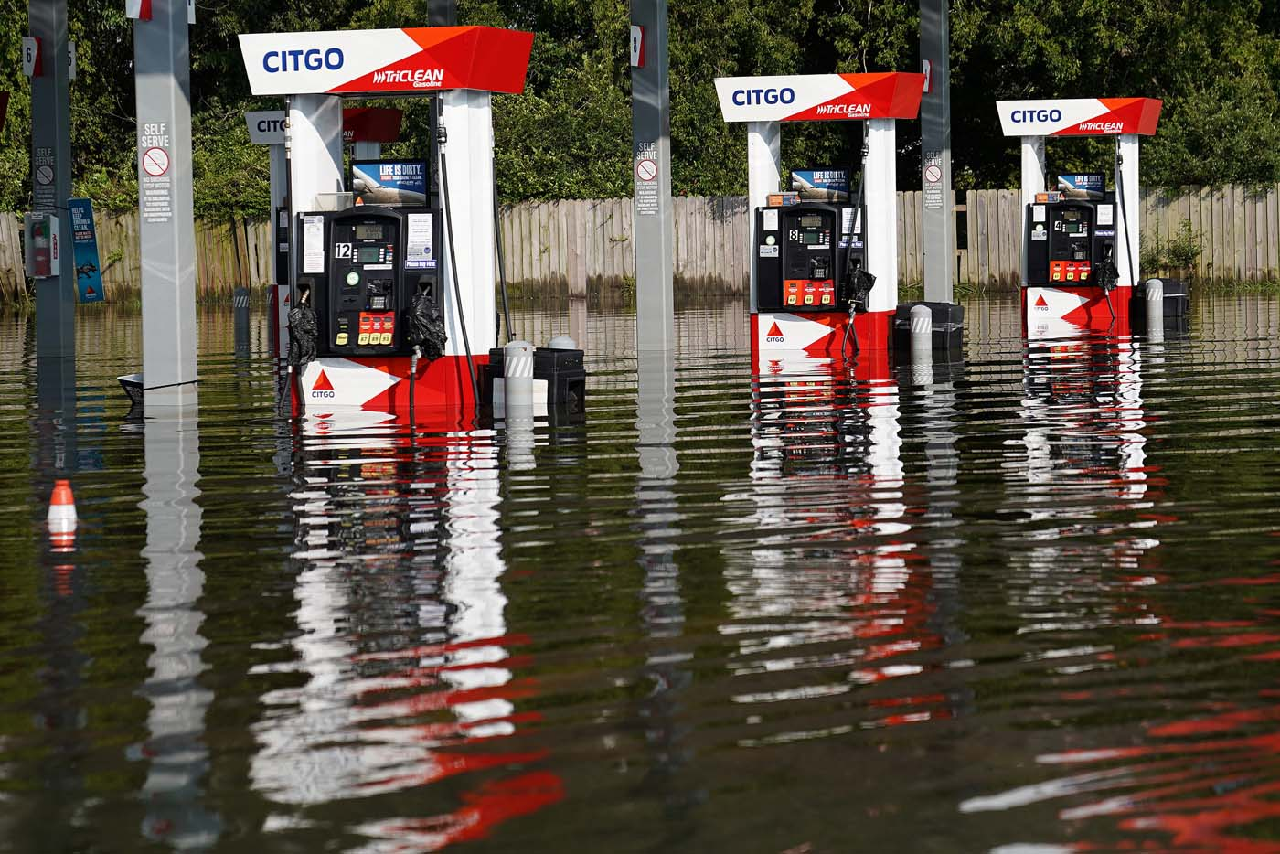 A flooded Citgo gas station is pictured as a result of Tropical Storm Harvey in Port Arthur, Texas, U.S., August 31, 2017. REUTERS/Carlo Allegri