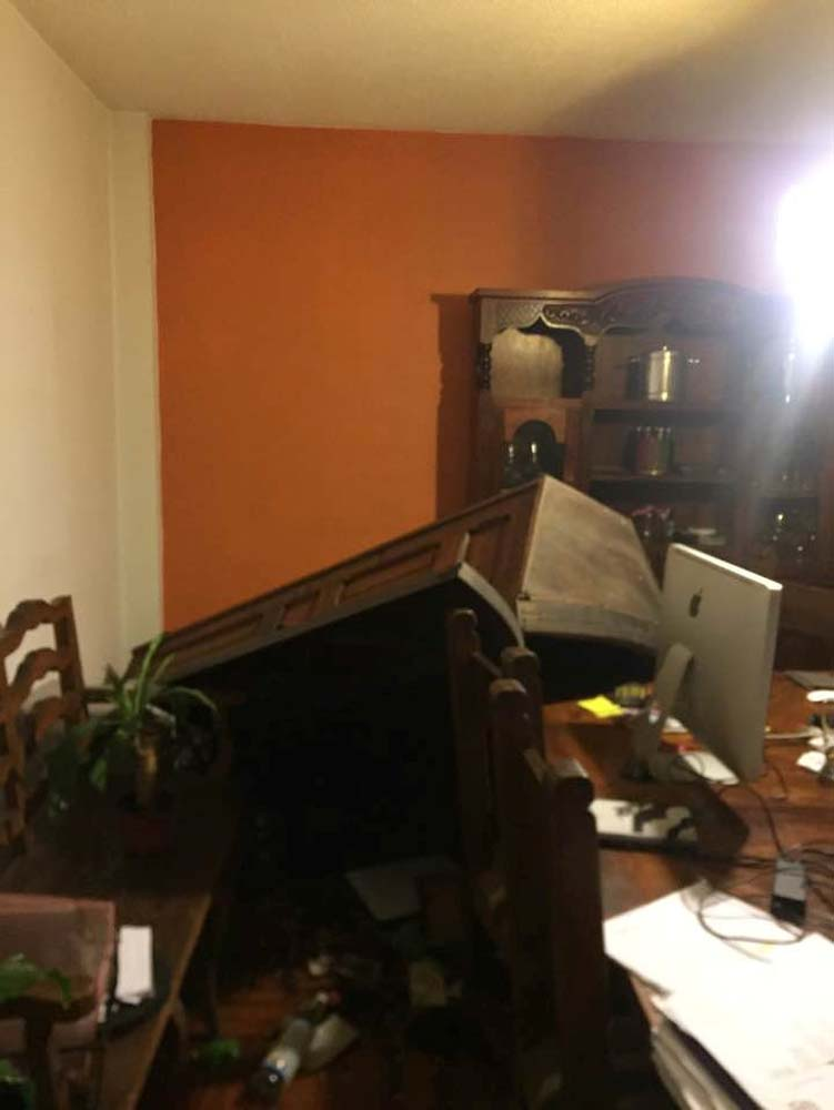 Fallen furniture in an apartment is pictured after an earthquake in Mexico City, Mexico September 8, 2017, in this photo obtained from social media. Maria Antonieta Barragan Lomeli via REUTERS THIS IMAGE HAS BEEN SUPPLIED BY A THIRD PARTY. MANDATORY CREDIT.NO RESALES. NO ARCHIVES