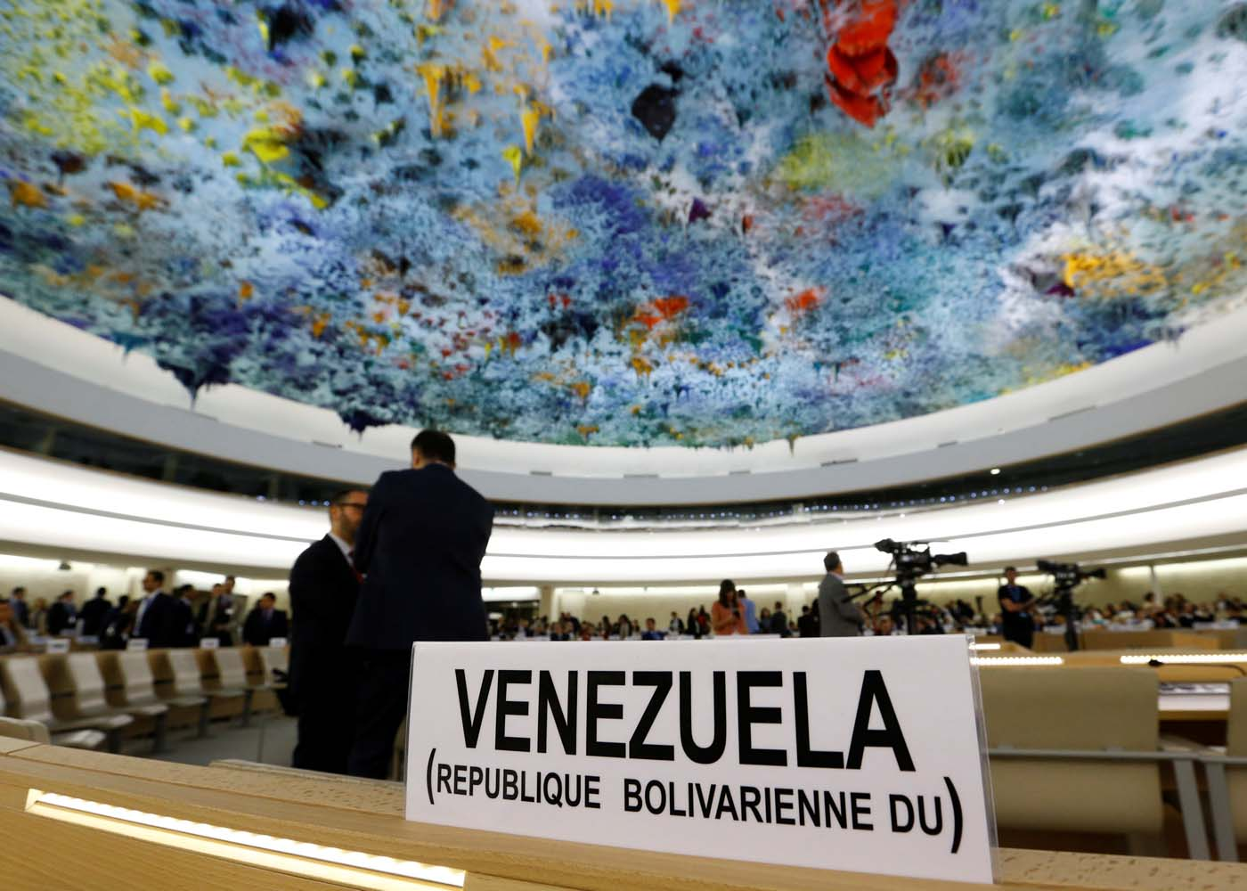 The name place sign of Venezuela is pictured on the country's desk at the 36th Session of the Human Rights Council at the United Nations in Geneva, Switzerland September 11, 2017. REUTERS/Denis Balibouse