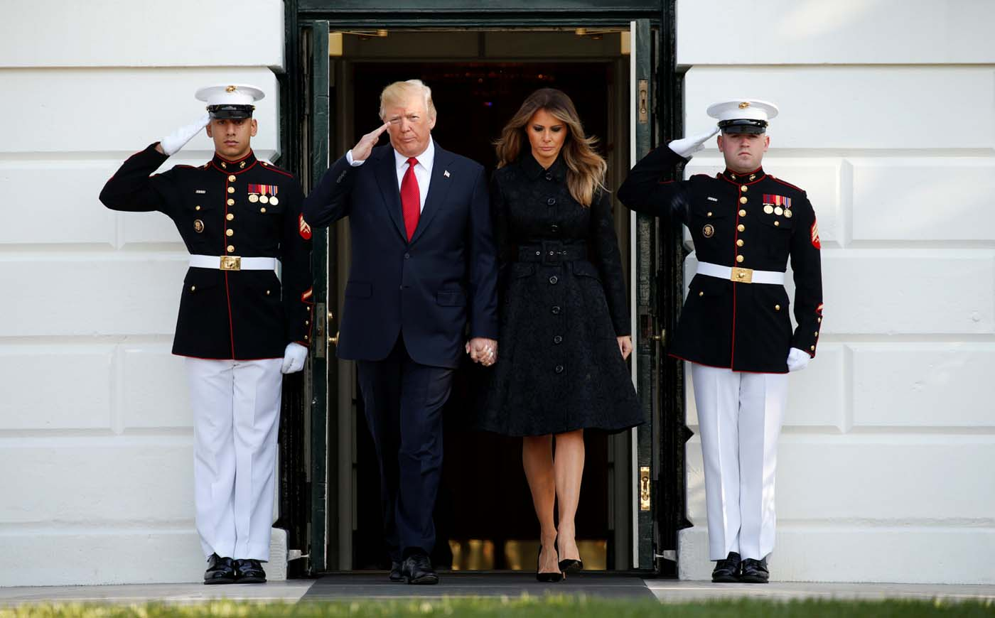 U.S. President Donald Trump and first lady Melania Trump arrive to observe a moment of silence in remembrance of those lost in the 9/11 attacks at the White House in Washington, U.S. September 11, 2017. REUTERS/Kevin Lamarque