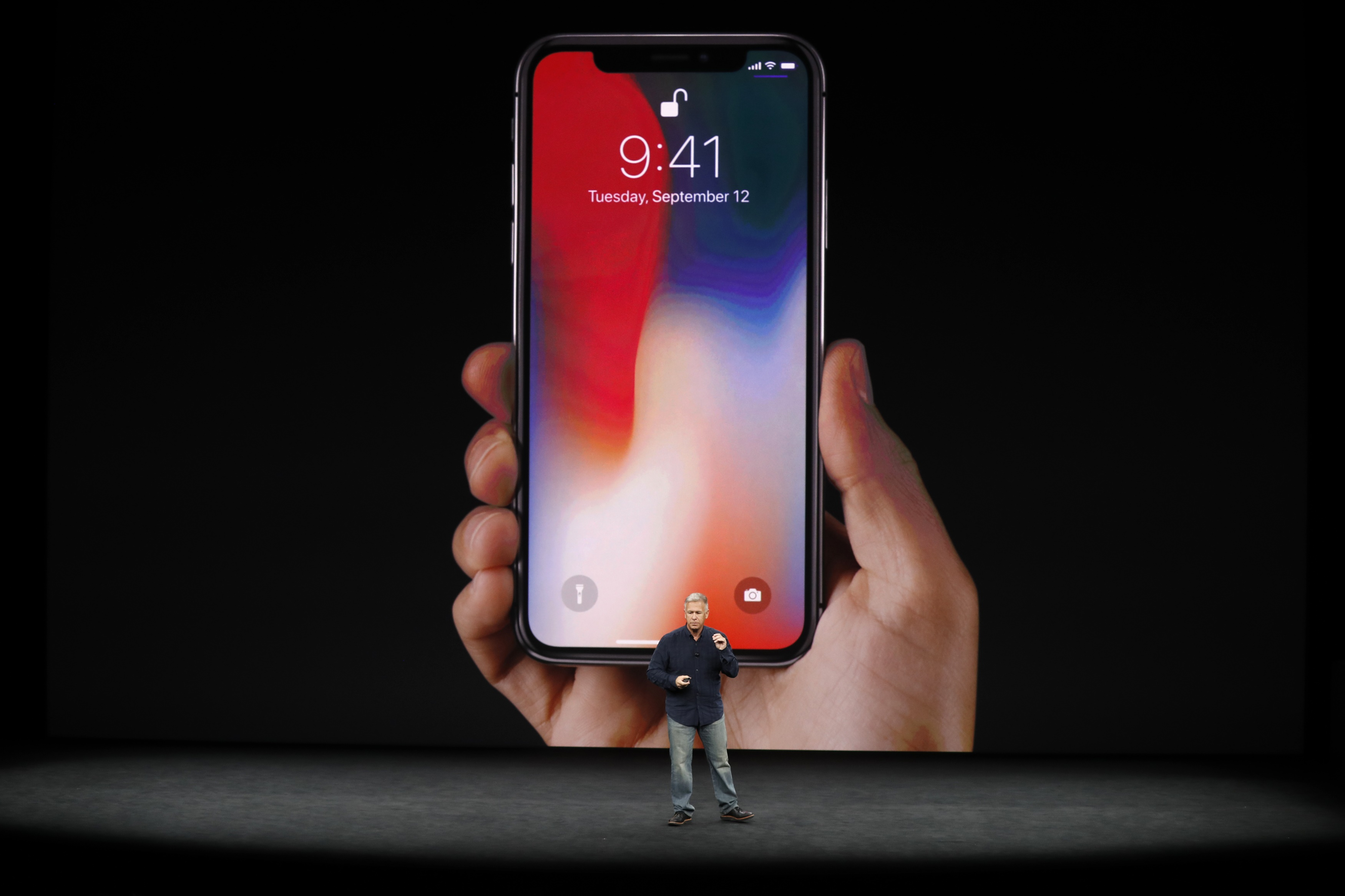REFILE - CORRECTING TYPO - Apple Senior Vice President of Worldwide Marketing, Phil Schiller, introduces the iPhone X during a launch event in Cupertino, California, U.S. September 12, 2017. REUTERS/Stephen Lam