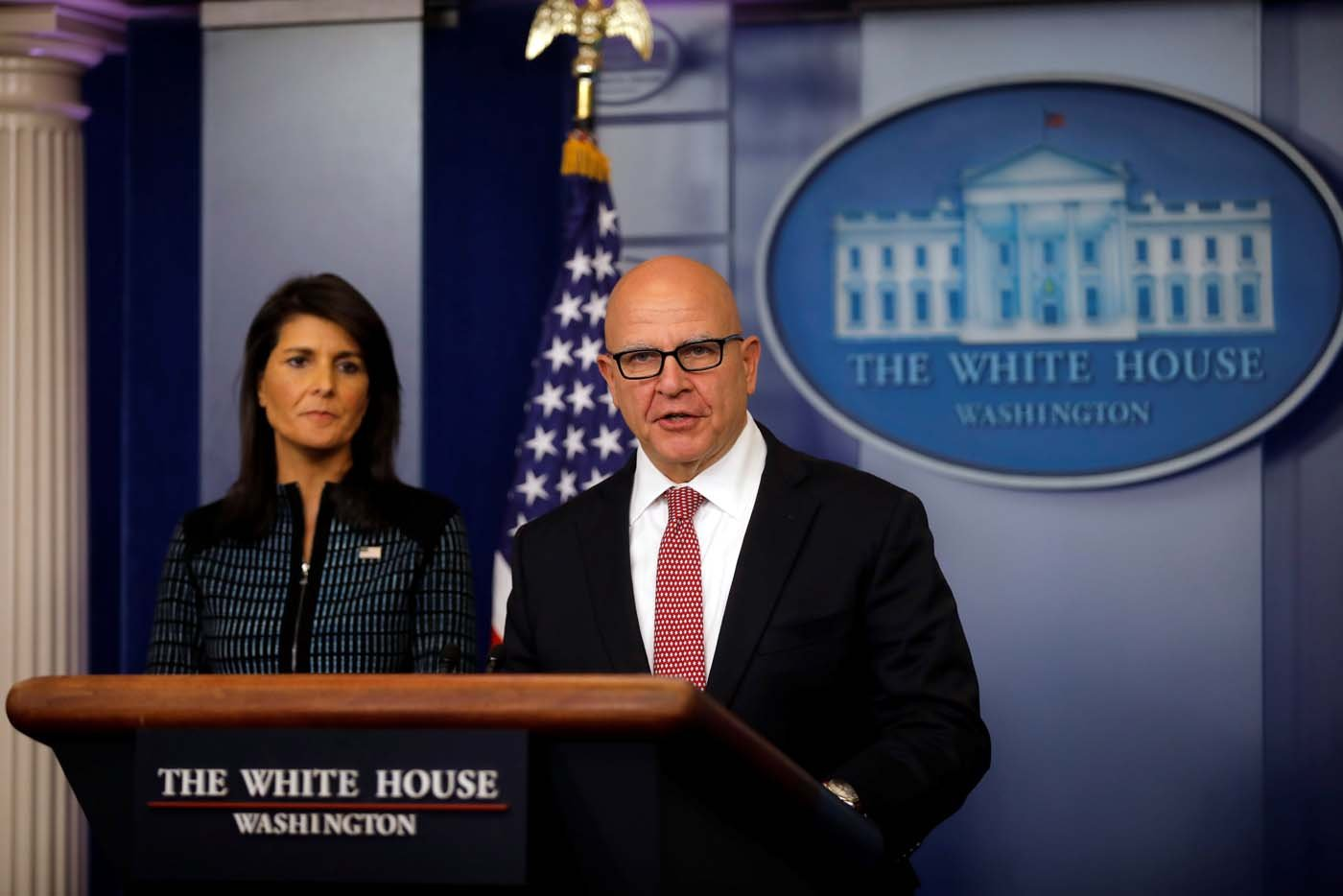 National Security Advisor H.R. McMaster speaks during the daily briefing accompanied by U.S. Ambassador to the UN, Nikki Haley at the White House in Washington, U.S., September 15, 2017. REUTERS/Carlos Barria