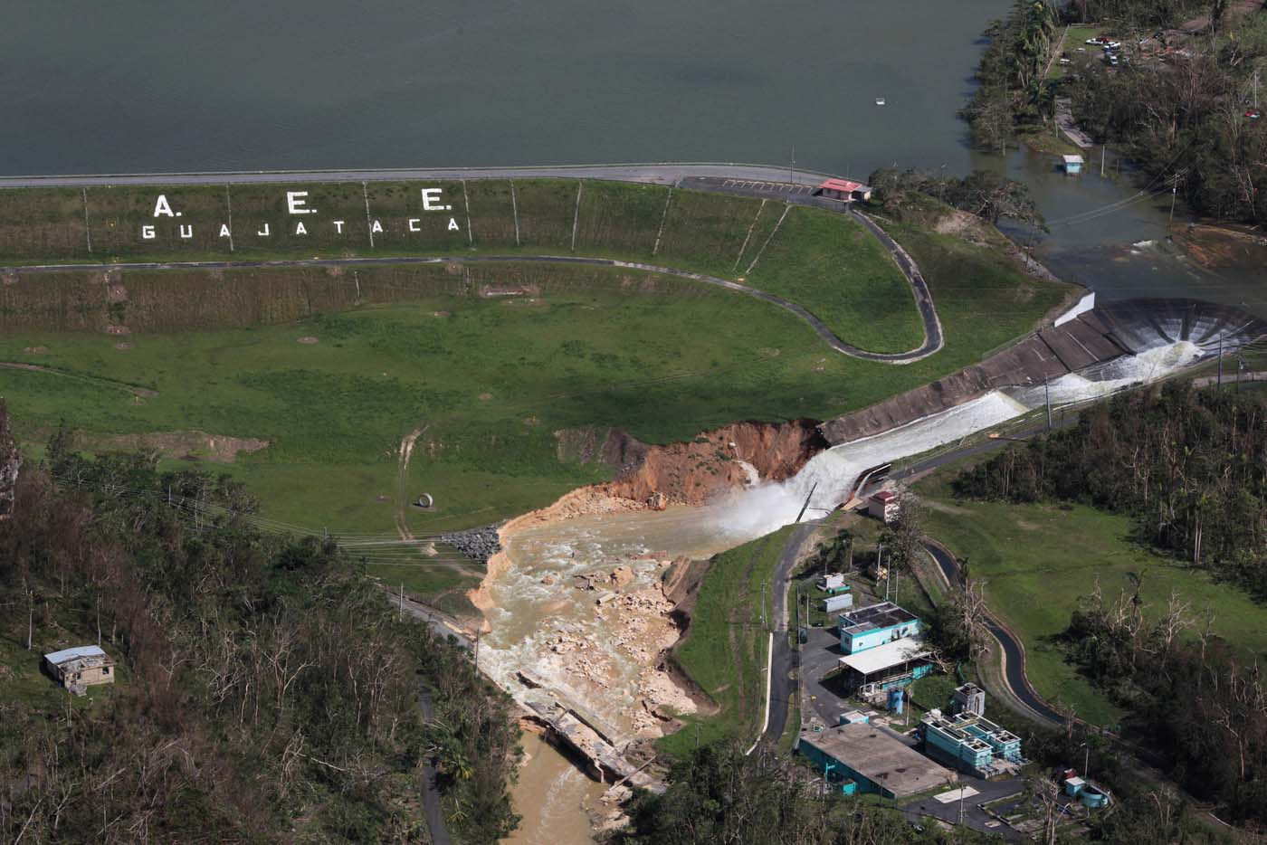 An aerial view shows damage to the Guajataca dam in the aftermath of Hurricane Maria, in Quebradillas, Puerto Rico September 23, 2017. REUTERS/Alvin Baez