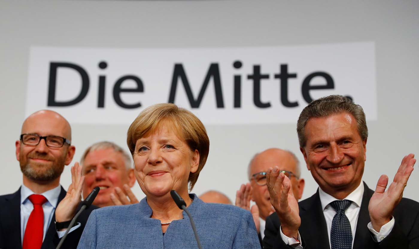 Christian Democratic UnionCDU party leader and German ChancellorAngela Merkelreactson first exit pollsin the German general election (Bundestagswahl)in Berlin, Germany, September 24, 2017. REUTERS/Kai Pfaffenbach