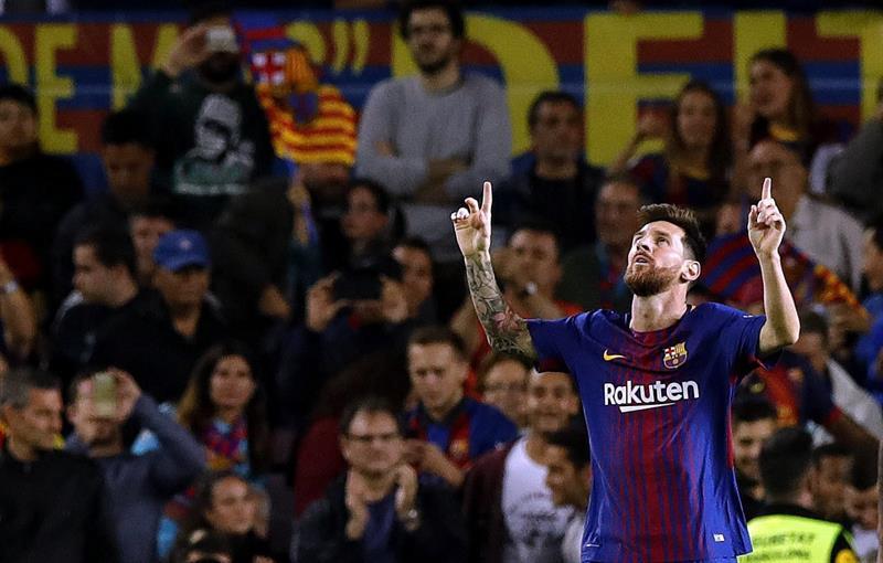 El argentino Lionel Messi celebra tras anotar uno de los cinco goles del Barcelona (Foto: EFE)