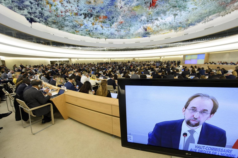 LG07 GINEBRA (SUIZA) 11/09/2017.- El alto comisionado de la ONU para los Derechos Humanos, Zeid Ra'ad al Hussein, preside la inauguración de la 35 sesión del Consejo de Derechos Humanos (CDH) en la sede europea de las Naciones Unidas (ONU) en Ginebra (Suiza) hoy, 11 de septiembre de 2017. EFE/Laurent Gillieron