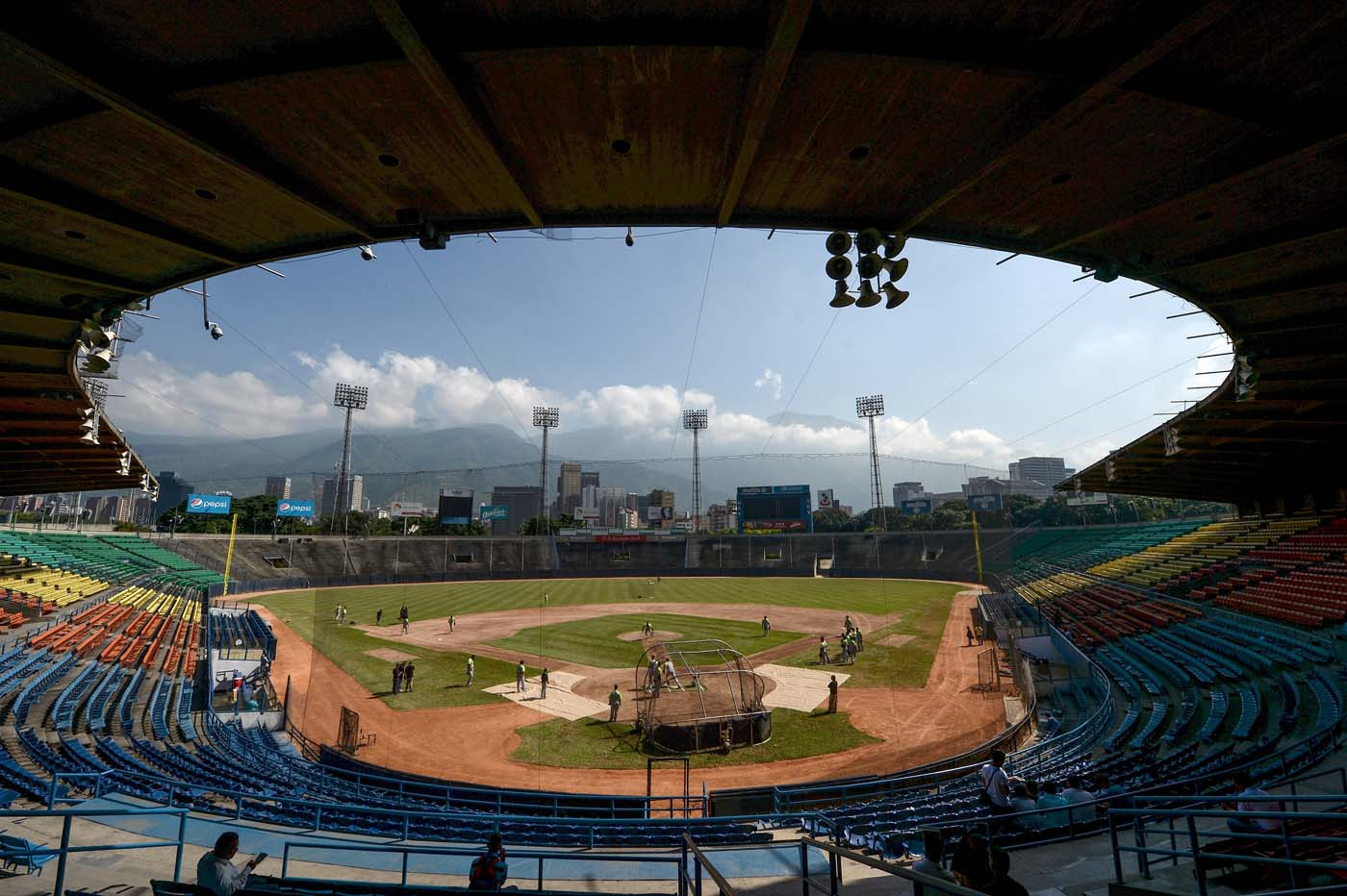 View of the Universitario stadium in Caracas on September 18, 2016. While baseball is Venezuela's national sport, some fans are angry that the government, given the severity of the economic crisis and the political tension, will spend nearly ten million dollars on organizing the upcoming Winter League rather than on imports of food and medicine. / AFP PHOTO / FEDERICO PARRA