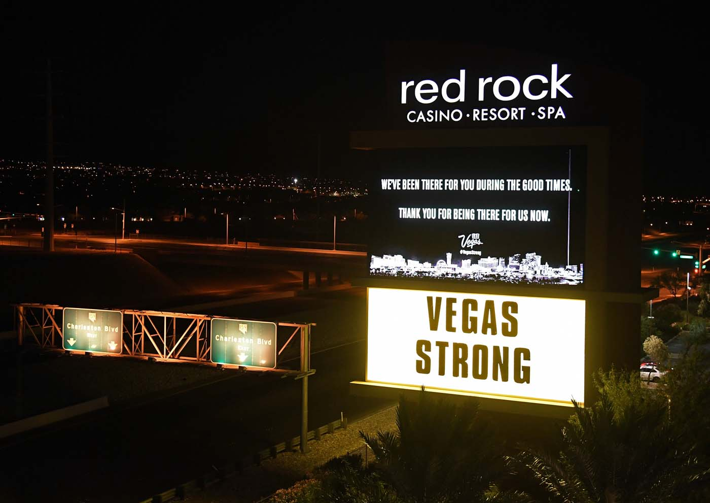 LAS VEGAS, NV - OCTOBER 04: A marquee at the Red Rock Resort displays a message of gratitude in response to Sunday night's mass shooting at a music festival, on October 4, 2017 in Las Vegas, Nevada. Hotel-casinos in Las Vegas replaced their usual flashy marquee advertisements with the same message of condolence as a show of strength in reaction to the violence. Late Sunday night, a lone gunman killed at least 59 people and injured more than 500 after he opened fire on a large crowd at the Route 91 Harvest country music festival. The massacre is one of the deadliest mass shooting events in U.S. history. Ethan Miller/Getty Images/AFP